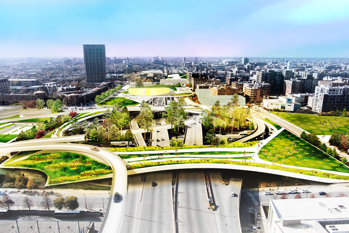 An east-west corridor view from downtown with the library site atop the Eisenhower Expressway.