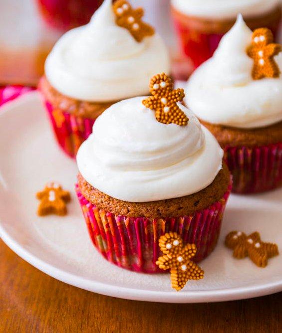"<strong>Get the <a href=""http://sallysbakingaddiction.com/2013/12/08/gingerbread-cupcakes/"" target=""_blank"">Gingerbread Cupca"