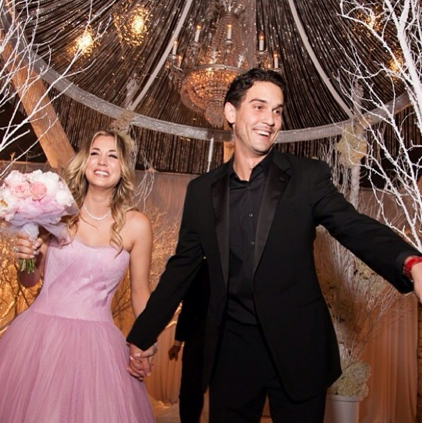 "The ""Big Bang Theory"" star tied the knot with her tennis pro beau on New Year's Eve 2013-2014."