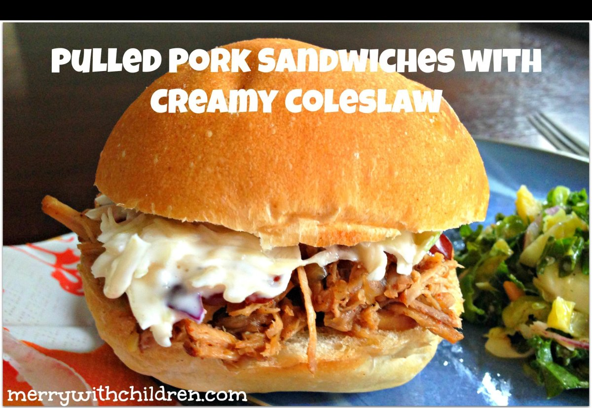 """<a href=""""http://merryabouttown.com/easy-slow-cooker-pulled-pork-coleslaw/"""" target=""""_hplink"""">Pulled Pork Sandwiches and Creamy"""