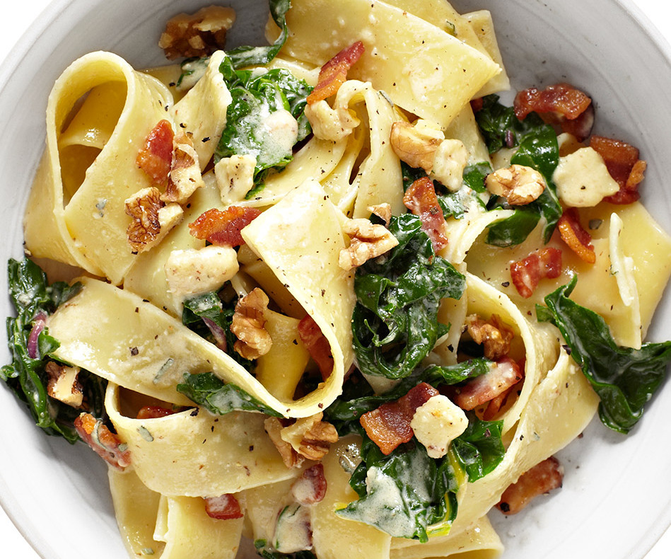 Pappardelle gets an extra kick from bacon and toasted walnuts. <br> In a pot of boiling salted water, cook chard 1 minute. Re