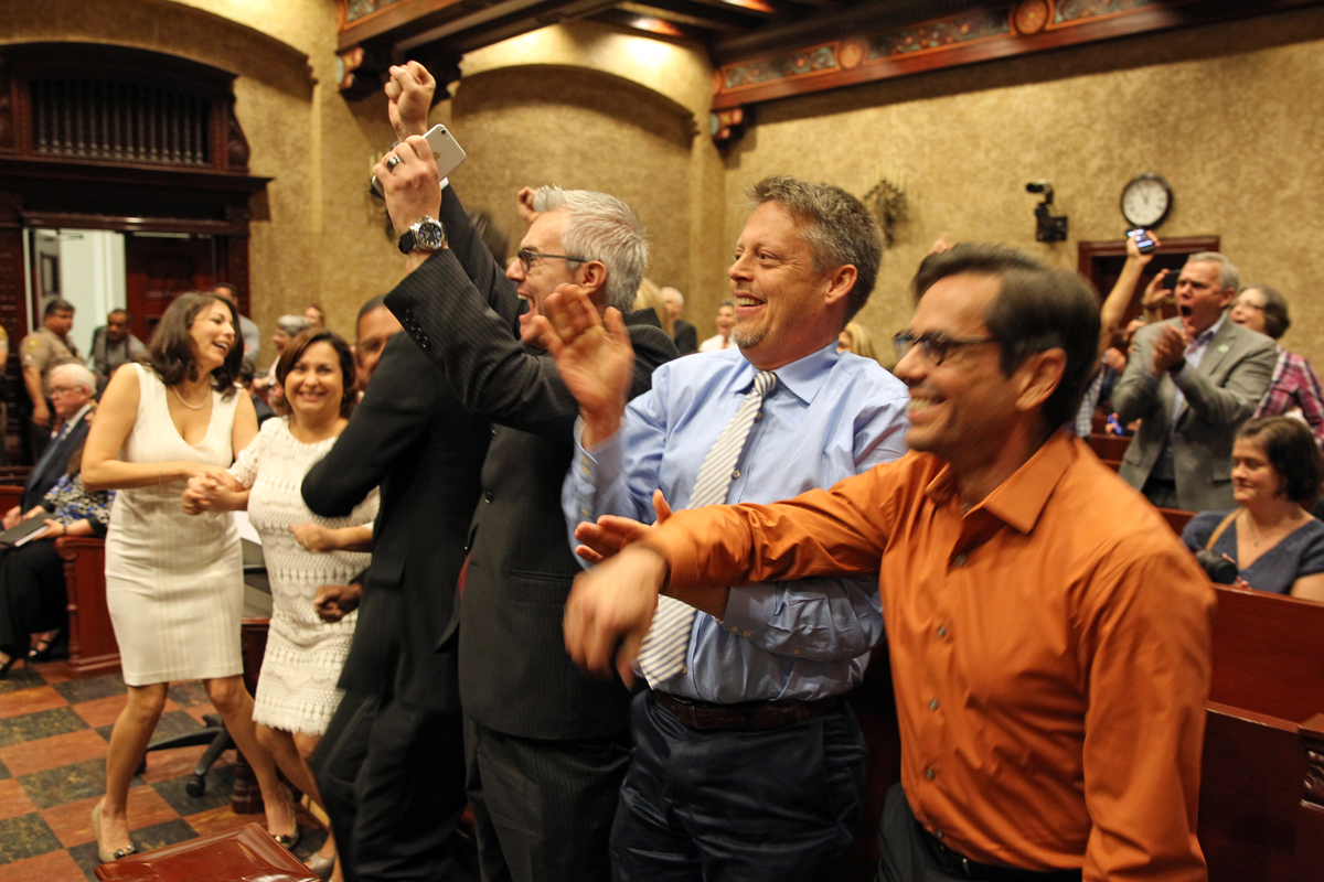 The same-sex couples who legally challenged Florida's marriage ban were present in court as a stay was lifted Monday. From le