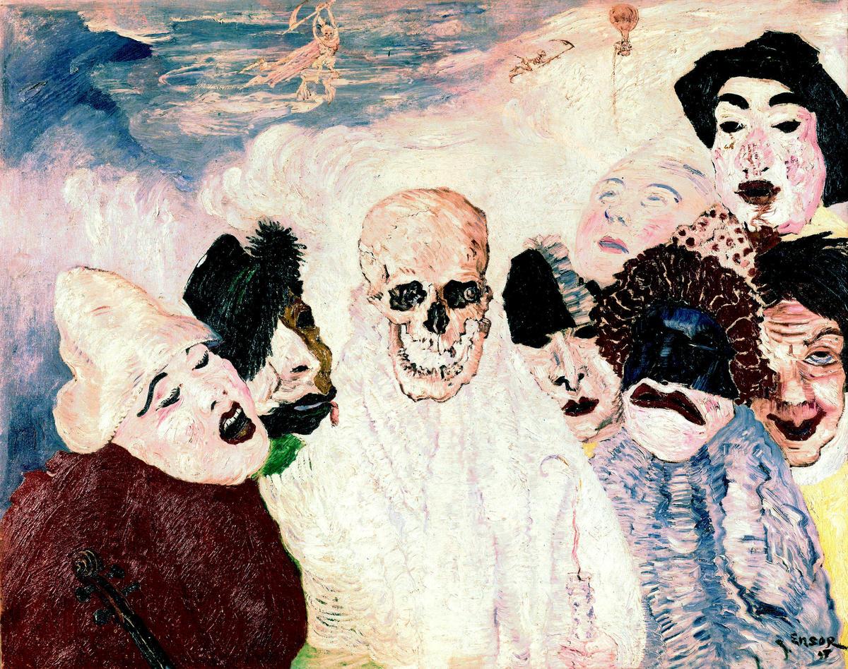 1.Les Masques et la Mort, tableau par James Ensor (1897) collection Musee des BeauxArts-Liege --- the masks and Death, paint