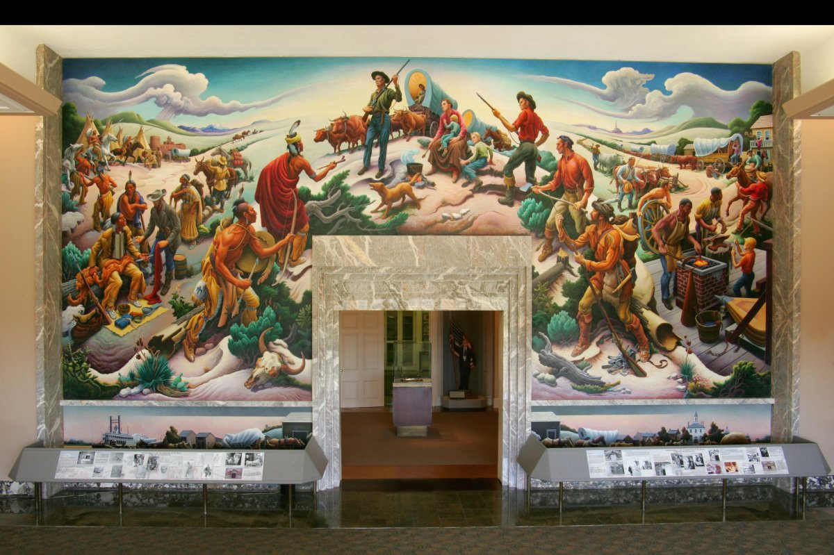 Reflecting Truman's love of history, this mural, depicting the opening of the west, is the first thing visitors see upon entr