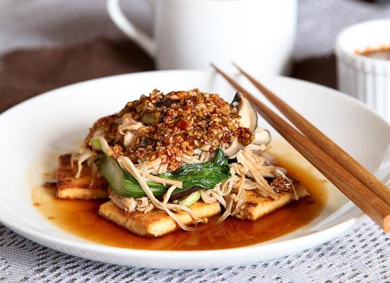 "<strong>Get the <a href=""http://www.snixykitchen.com/2012/09/05/crispy-tofu-and-mushroom-medley/"">Crispy Tofu And Mushroom Me"
