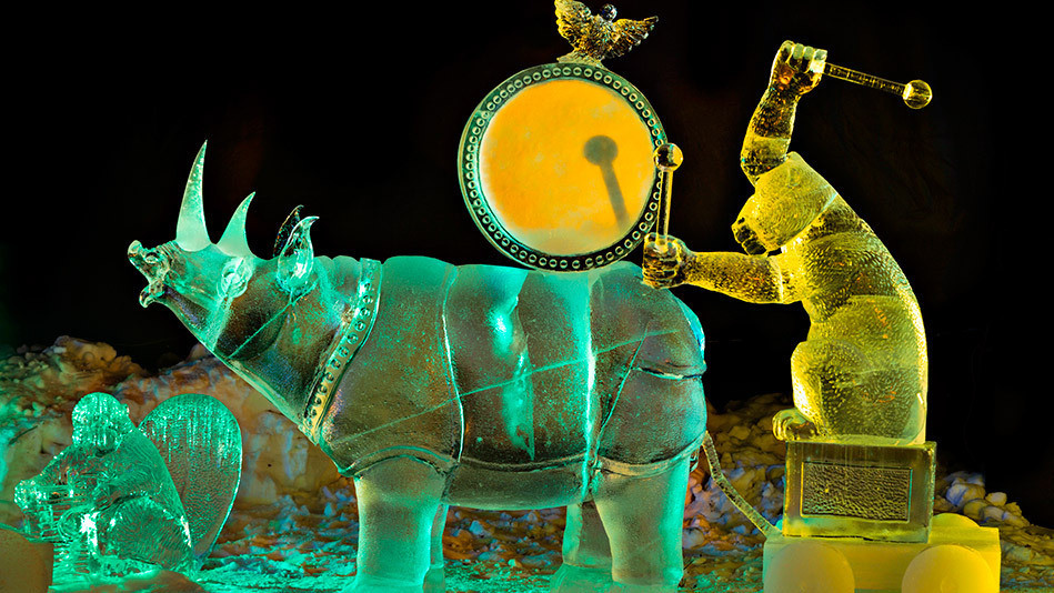 One of the scenes Brice and her team sculpted for the 2005 World Ice Art Championship: a baboon playing a drum on a rhino.