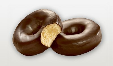 The chocolate coating -- we won't call it frosting -- is way too waxy, and the interior of the doughnut is way too spongy. We