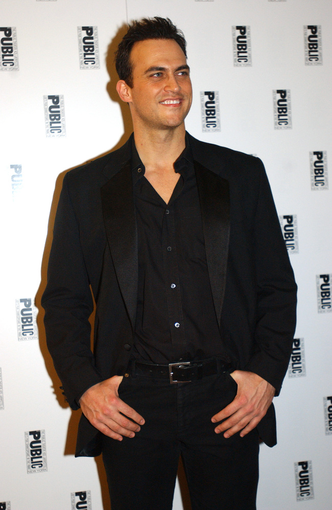"""Actor Cheyenne Jackson arrives at the post-performance cast party for """"The Public Sings: a 50th Anniversary Celebration"""", an"""