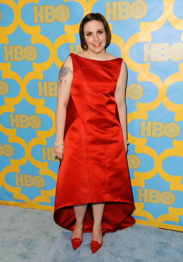 Lena Dunham arrives at the HBO Golden Globes afterparty at the Beverly Hilton Hotel on Sunday, Jan. 11, 2015, in Beverly Hill