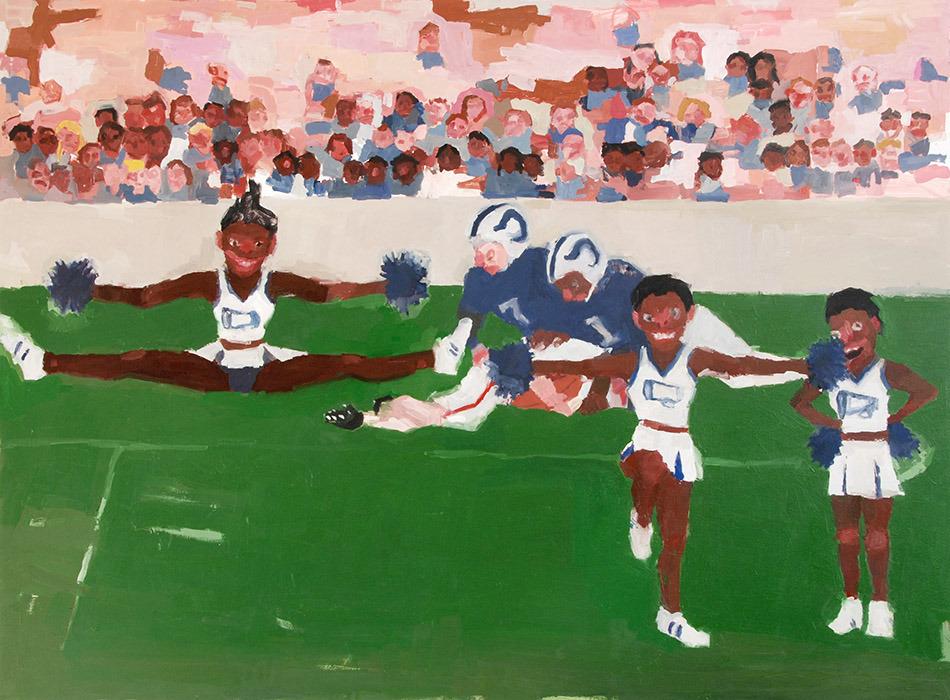 """Jennie Ottinger Cheerleaders 2015 Oil on canvas 30"""" x 40"""""""