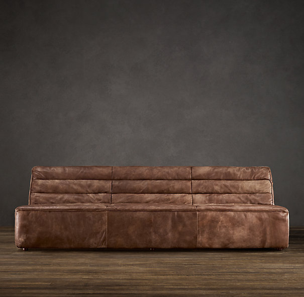 Restoration Hardware Couch Tan Leather Sofa Chelsea