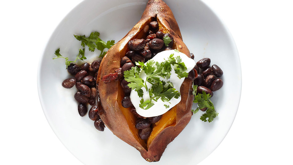 Here's one version of a loaded baked potato we hadn't tried before: stuffed with chipotle-spiced black beans, sour cream and