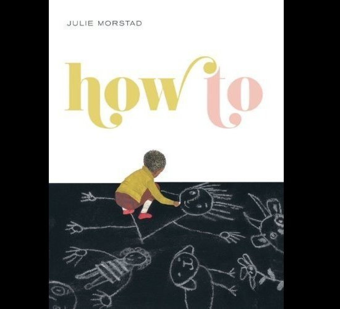 """<strong>By Julie Morstad</strong>  """"How to See the Wind"""" trails down the side of a two-page illustration of children flying"""