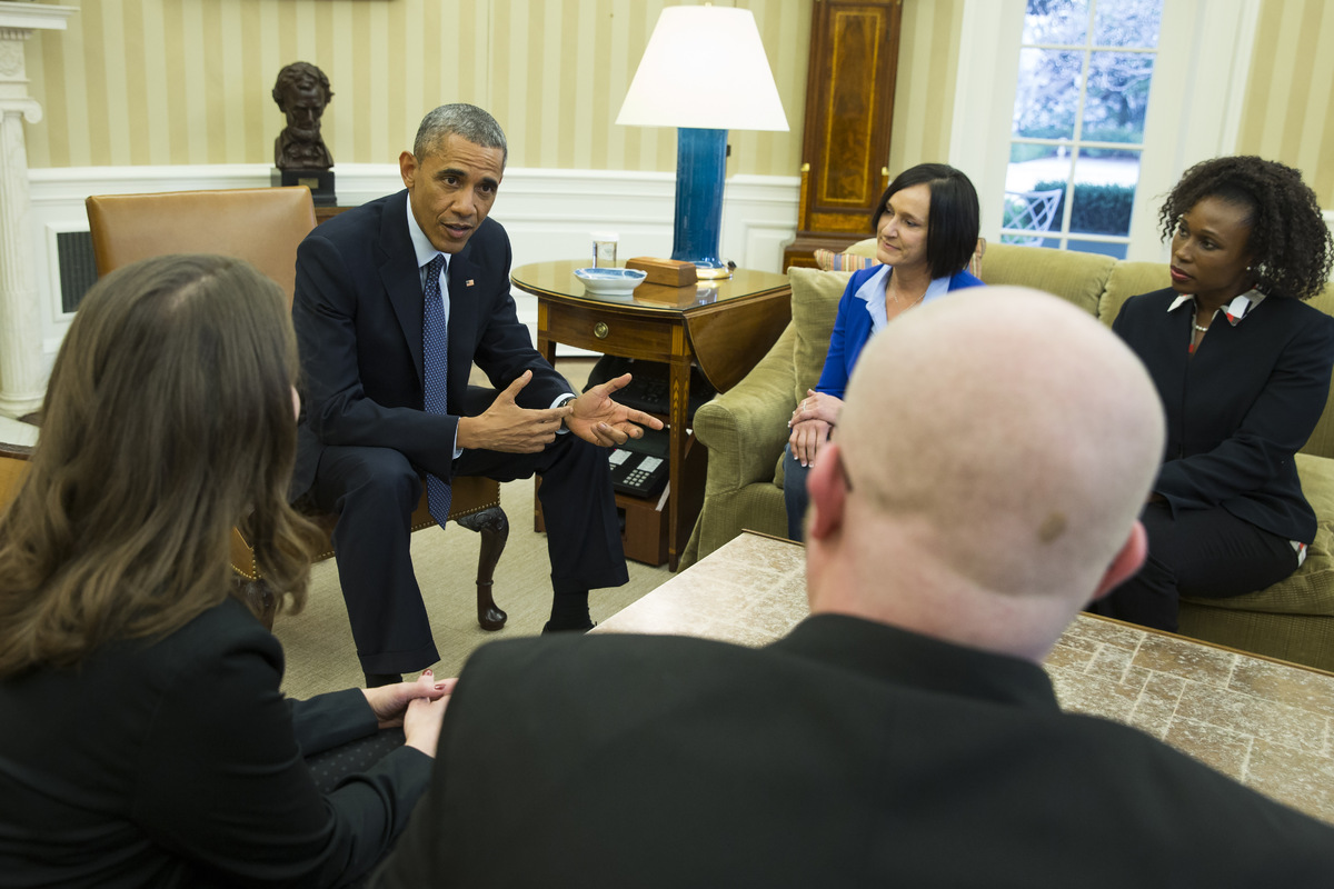 President Barack Obama meets with four of the letter writers who will join the First Lady and Dr. Jill Biden at the State of