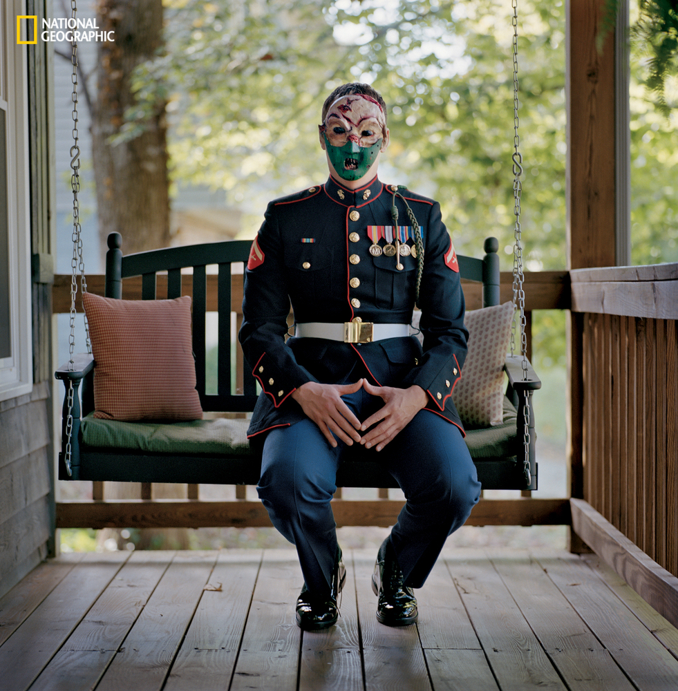 Marine Cpl. Chris McNair (Ret.) Afghanistan 2011-12 Impeccable in his Marine uniform and outwardly composed, McNair sits on t