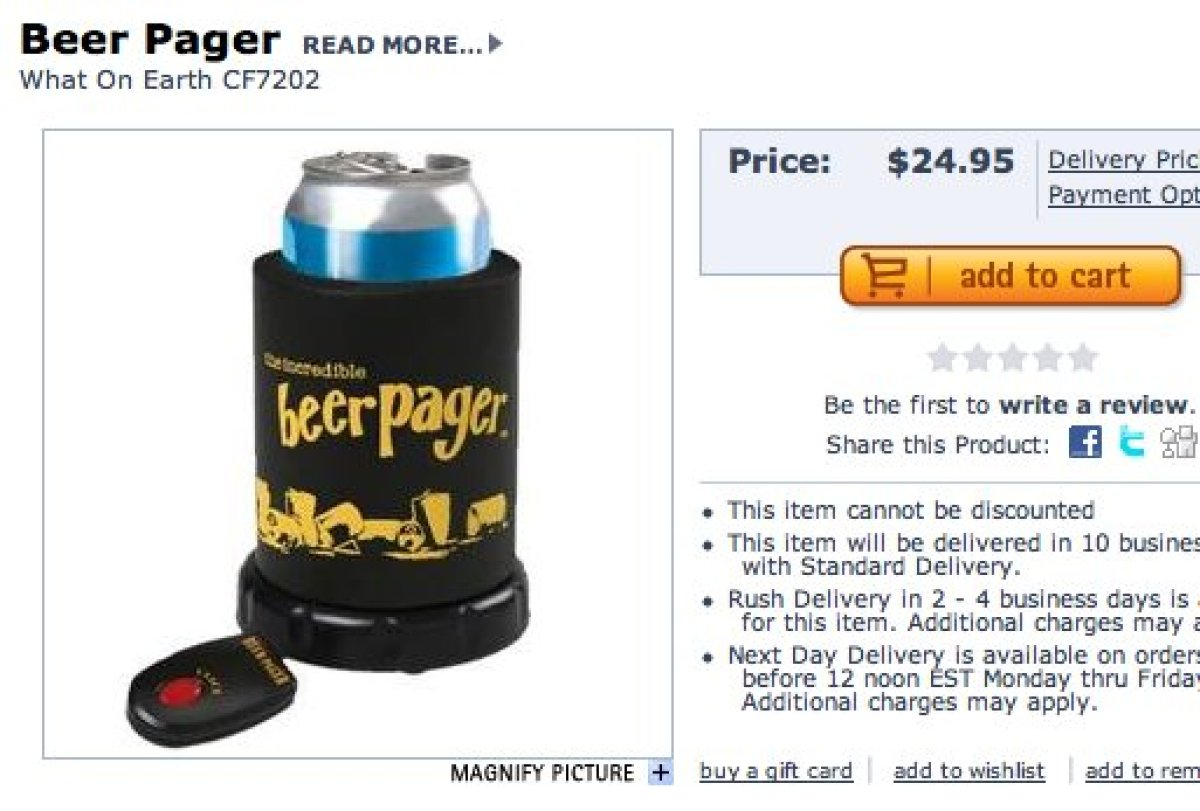 """When you press the button, the beer holder burps to alert you of the drink's whereabouts. $24.95, <a href=""""http://www.skymall"""