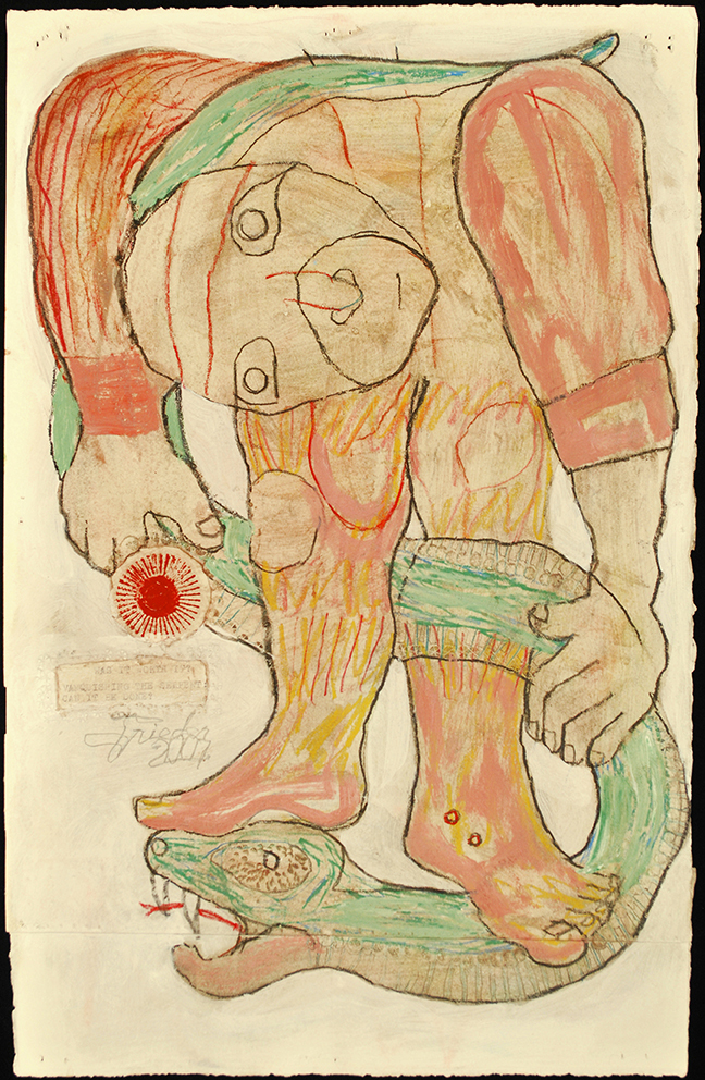 Untitled (Vanquishing Serpent) 2007 mixed media on paper 17.25X11""