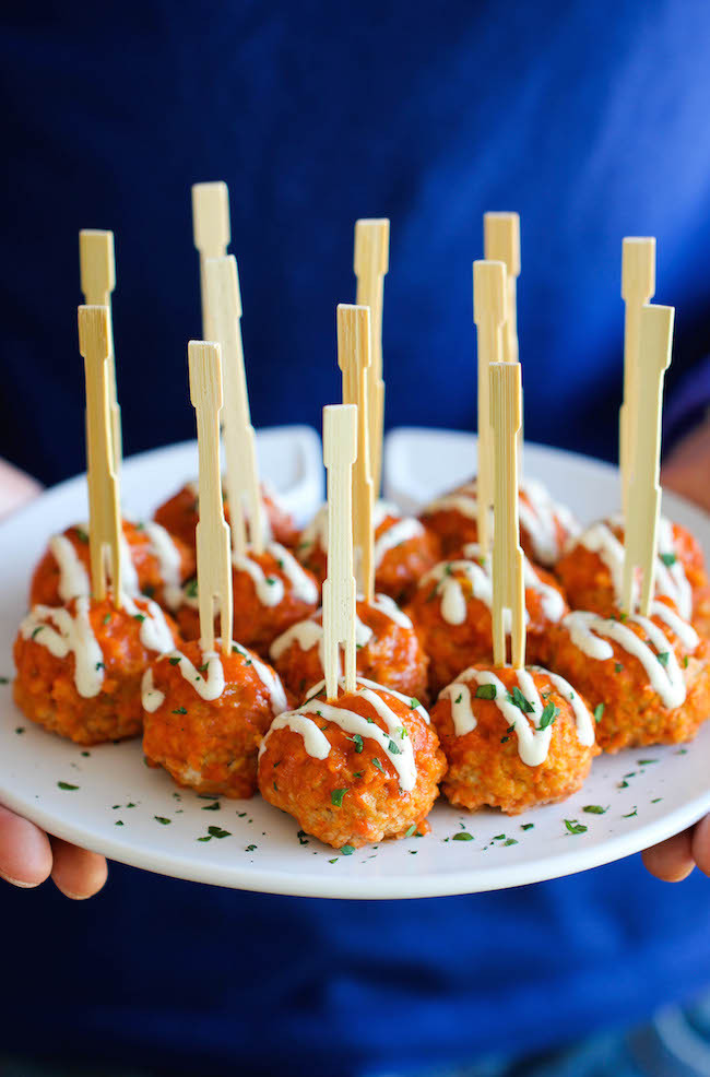 "<strong>Get the <a href=""http://damndelicious.net/2014/04/30/slow-cooker-buffalo-chicken-meatballs/"" target=""_blank"">Slow Coo"