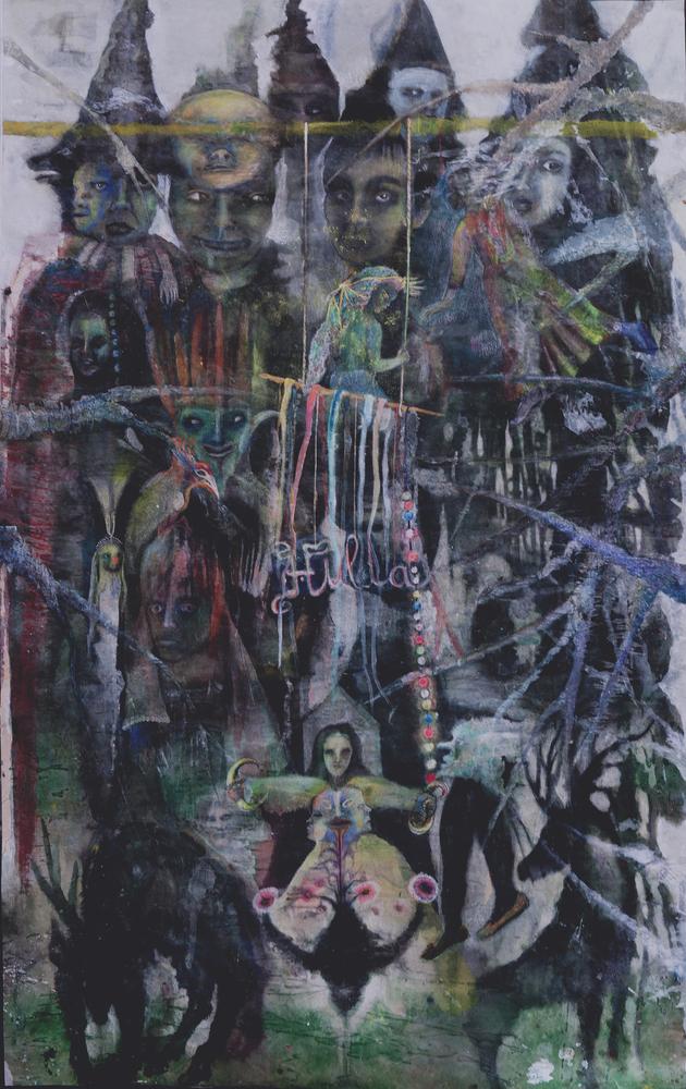 Hulda, 2014 mixed media on paper 160 x 100 cm © Polad-Hardouin Gallery
