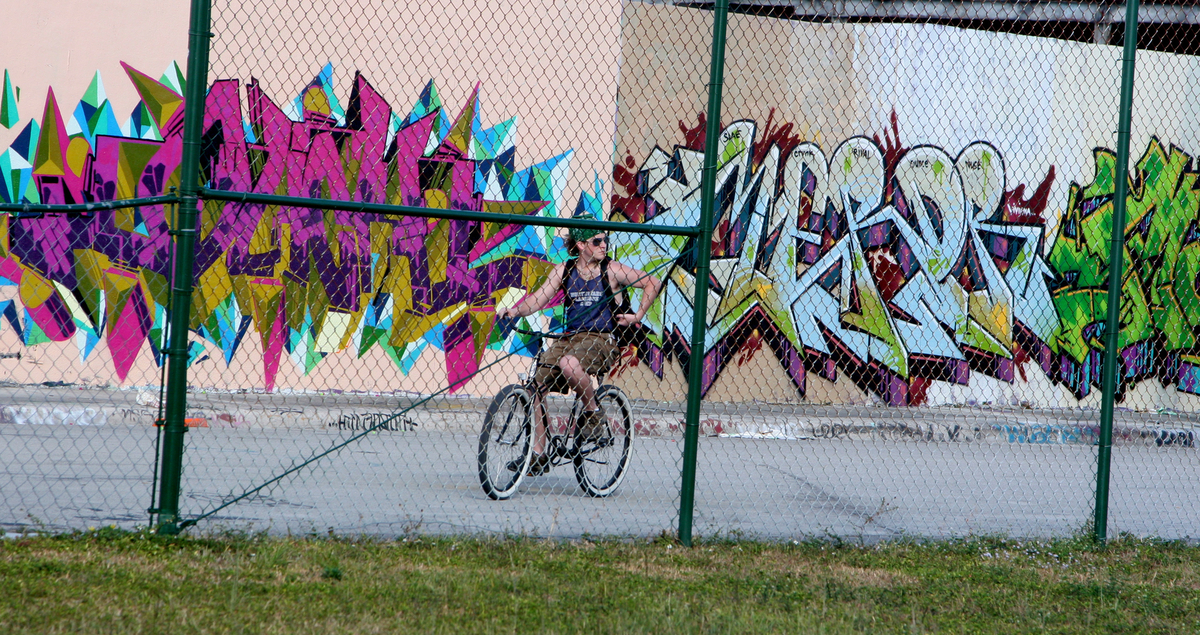 General view of murals at the Wynwood Walls in Miami, Florida on December 07, 2012. Wynwood Walls has brought the world's gre