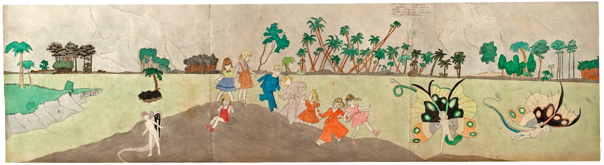 Untitled, n.d. (c. 1940-50) Watercolor, carbon transfer, collage and pencil on pieced paper 18 x 70 inches (45.7 x 177.8 cm)