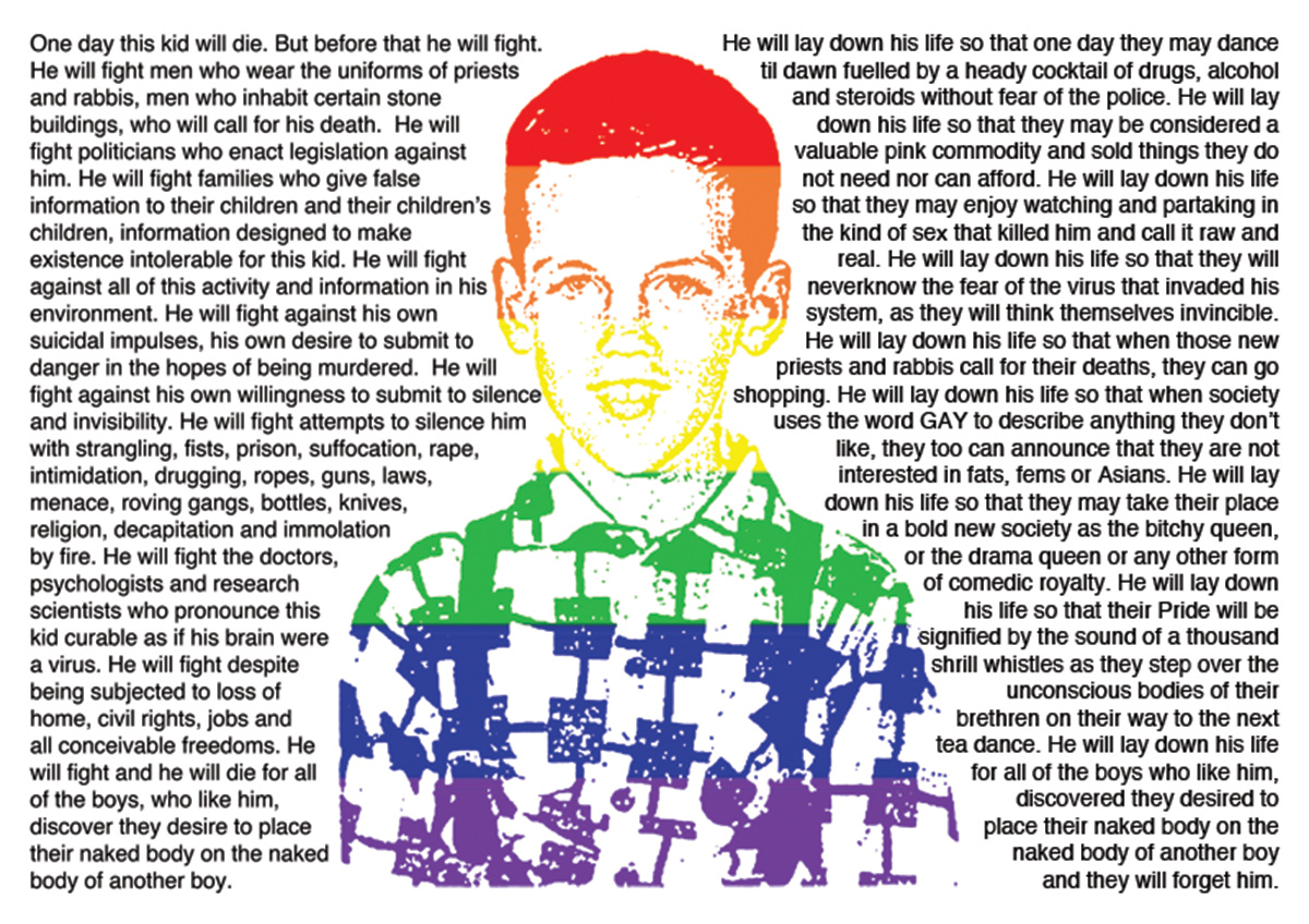 Woodson, Jason, This Kid - 20 Years On - A Tribute to David Wojnarowicz' Untitled - This Kid, 2010, framed giclee print, 23.3