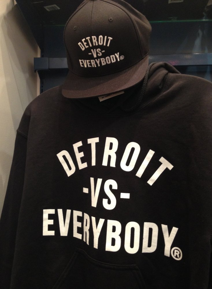 "Detroit vs Everybody hat and sweatshirt by Detroit designer and <a href=""http://youtu.be/hCdgDxQbW_U"" target=""_hplink"">song-i"