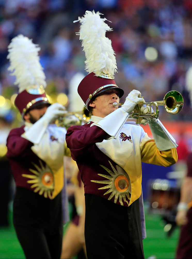 GLENDALE, AZ - FEBRUARY 01:  The Arizona State Marching Band performs prior to Super Bowl XLIX between the Seattle Seahawks a