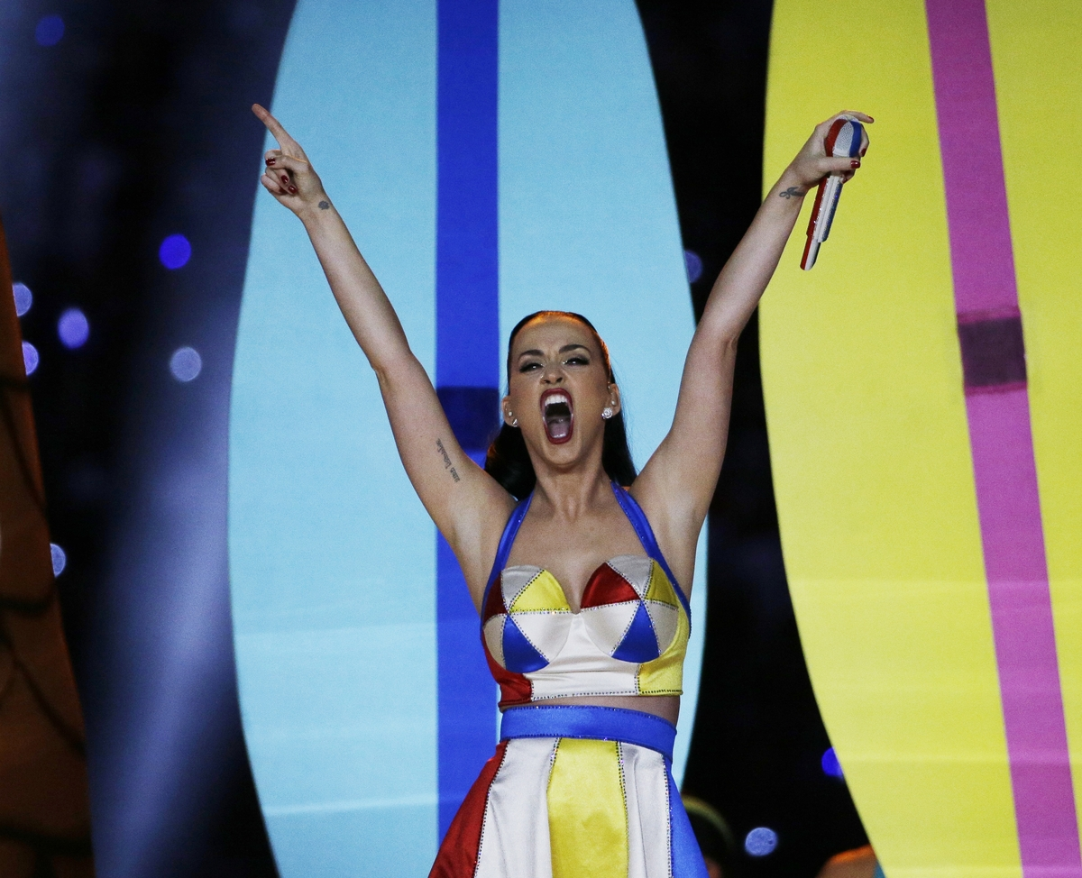 Singer Katy Perry performs during halftime of NFL Super Bowl XLIX football game between the Seattle Seahawks and the New Engl
