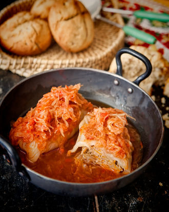"<strong>Get the <a href=""http://food52.com/recipes/20267-stuffed-cabbage-rolls"">Stuffed Cabbage Rolls recipe</a> from Food52<"