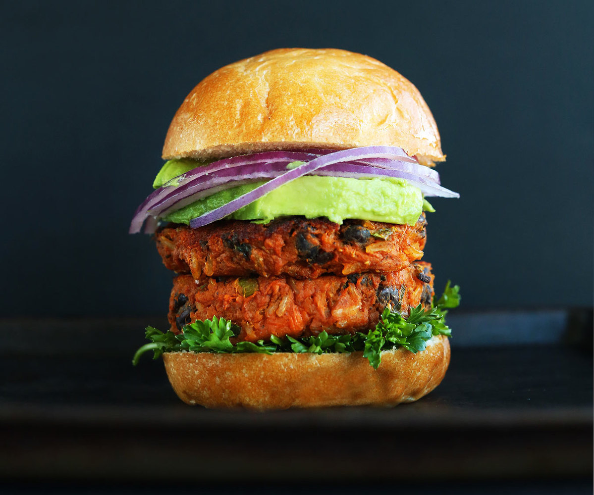 "<strong>Get the<a href=""http://minimalistbaker.com/sweet-potato-black-bean-burger/"" target=""_blank""> Sweet Potato Black Bean"