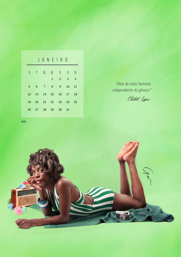"January (summer) – ""A time of warmth, regardless of gender."" – Cristal Lopez   <a href=""http://calendario-geni.tumblr.com/"" t"