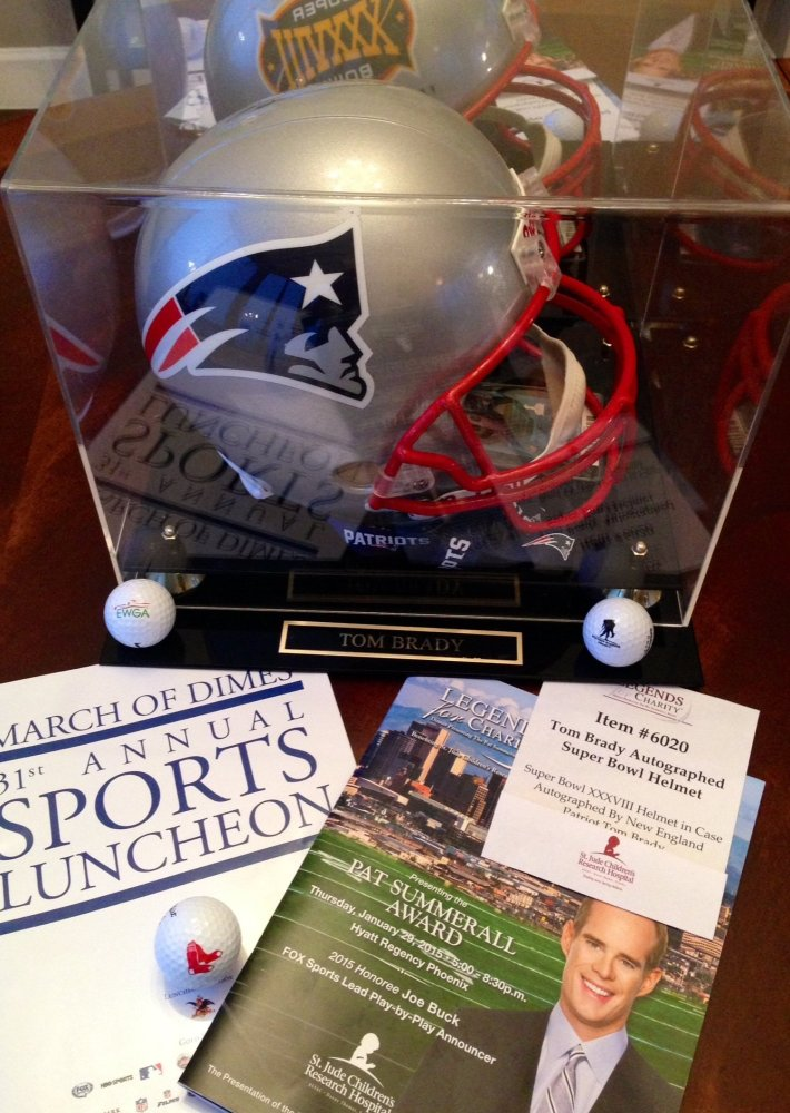 St. Jude Super Bowl event. Tom Brady signed helmet auction item