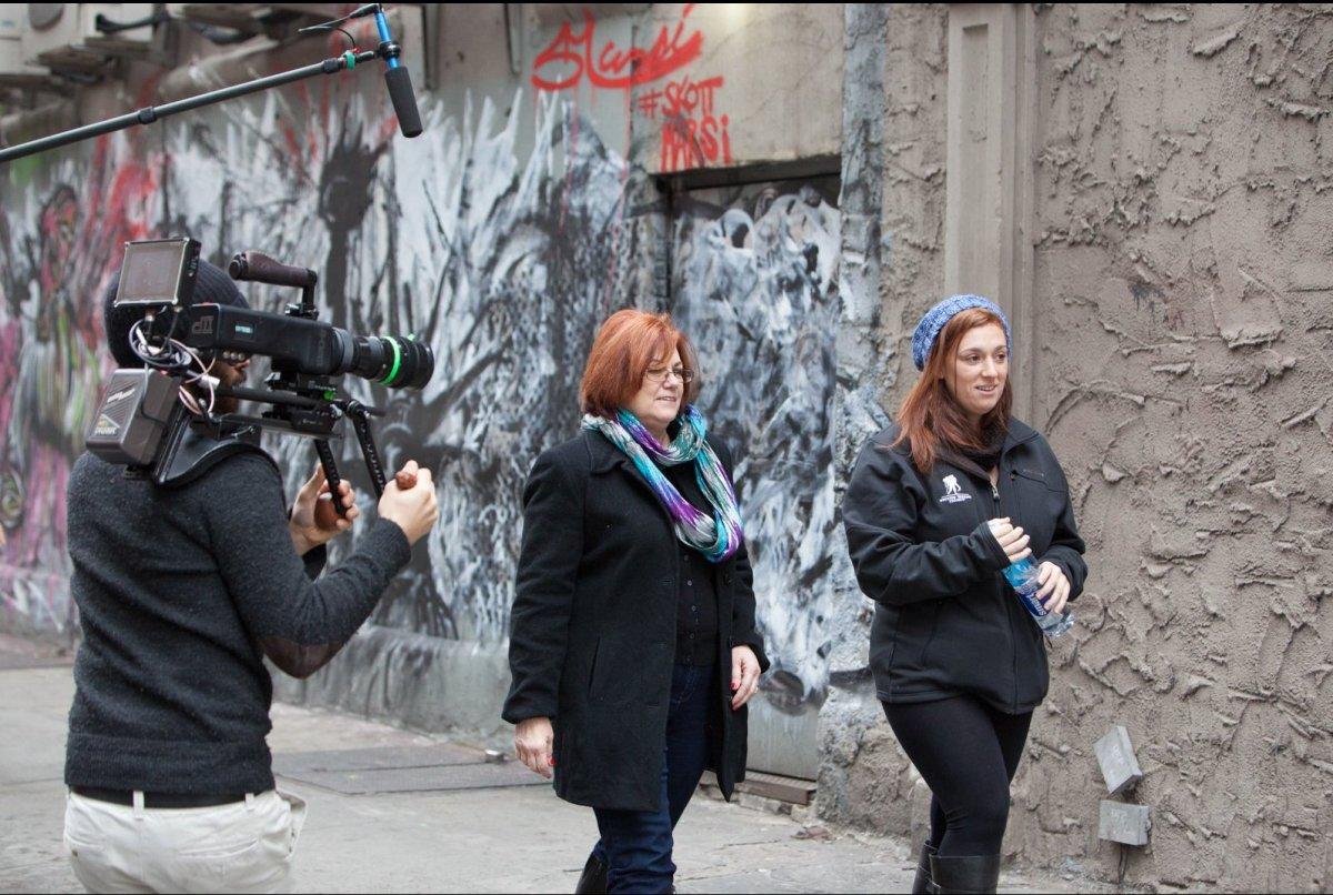 "The video crew catches Purple Heart Recipient, Amanda Martinez and her Mom Deborah, walking to meet <a href=""http://instagram"