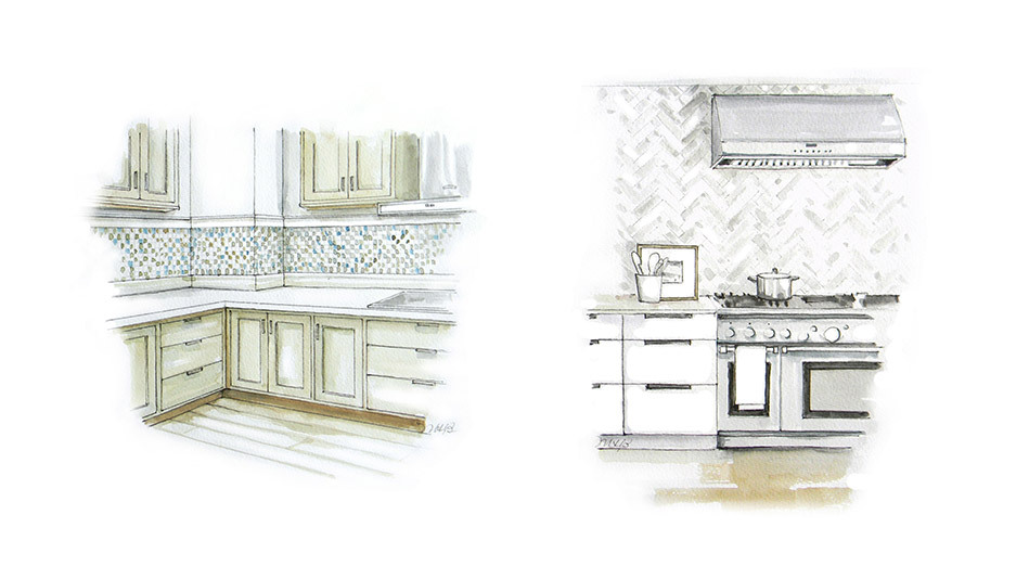 That once-popular stripe of tiny, sea-toned square glass tiles -- or practical, 4-inch strip of granite -- above the stove is