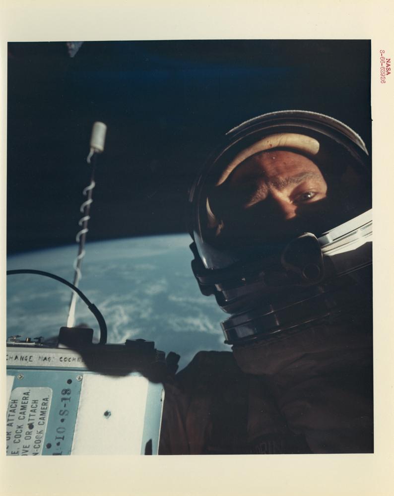 Buzz Aldrin, First self-portrait in space, Gemini 12, November 1966
