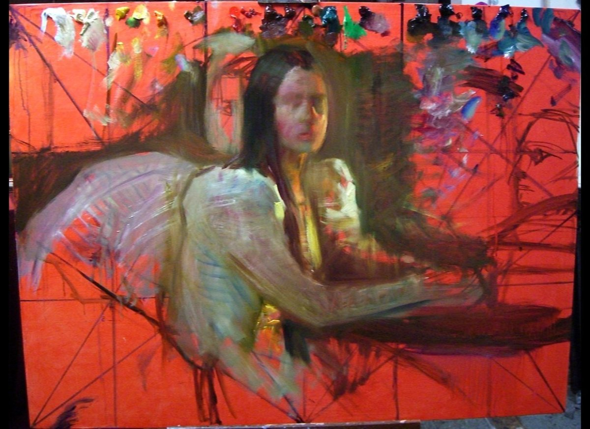 """Steven Assael, <em>Bride with Cards</em>, 2012, oil on canvas, 48""""x60"""" - lay in state"""