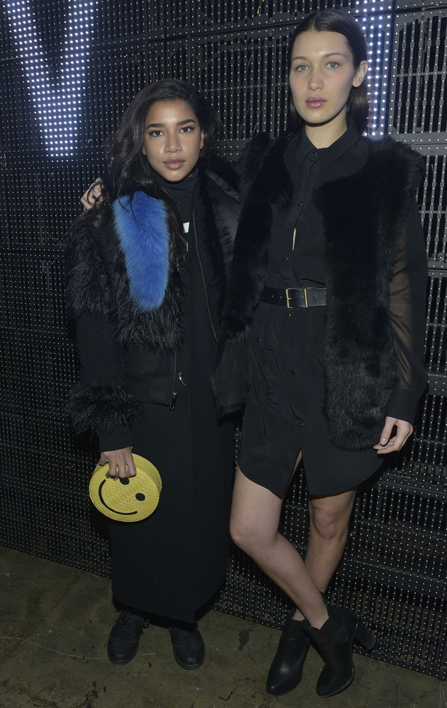 NEW YORK, NY - FEBRUARY 15:  Hannah Bronfman and Bella Hadid attend the DKNY - Front Row & Backstage - Mercedes-Benz Fashion
