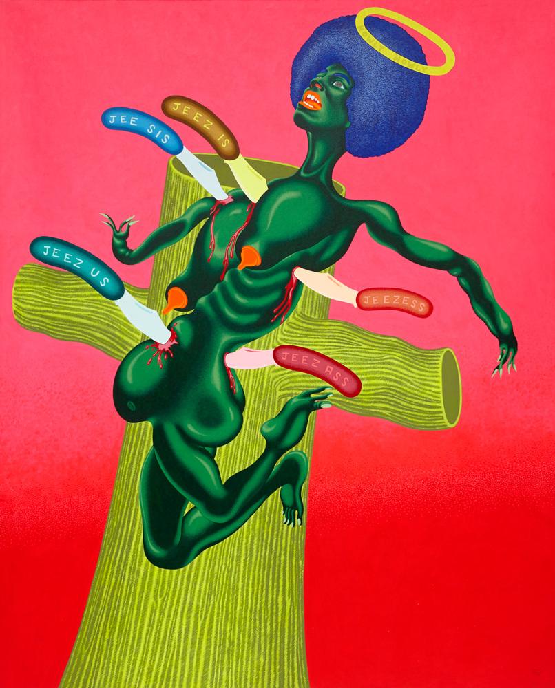 Crucifixion of Angela Davis, 1973  Acrylic on canvas  83 1⁄2 x 67 1⁄2 inches