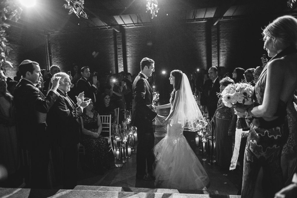 """""""Ely and I got married at the Book Bindery in Culver City, CA. I really did not want to hide the fact that we were in a wareh"""