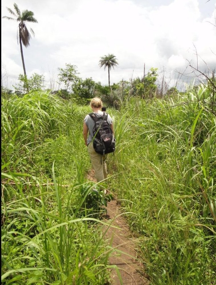 Photo credit: CDC   CDC disease detective Kari Yacisin went to Guinea to work with local teams doing contact tracing, the l