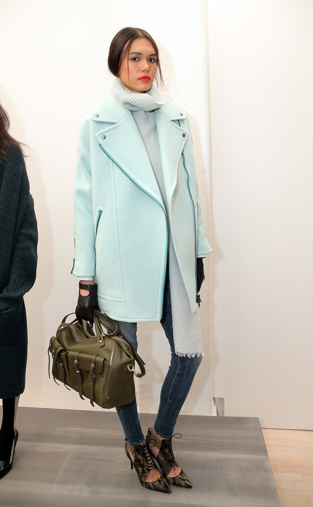 """""""This oversize, mint wool coat with the chunky turtleneck is calling my name. Do you hear it? 'Dana. Dana.' I love how the bu"""