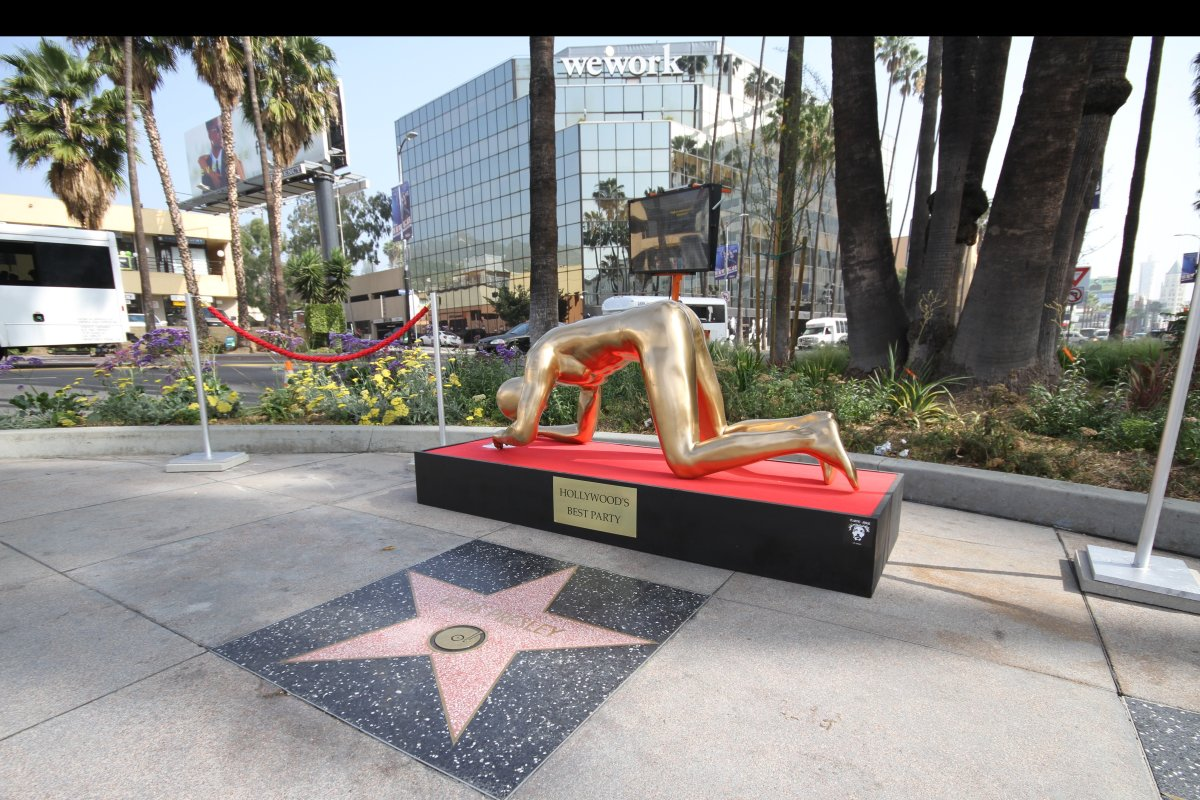Replete with red velvet ropes, this street art installation was set up at the gateway to Hollywood Blvd.