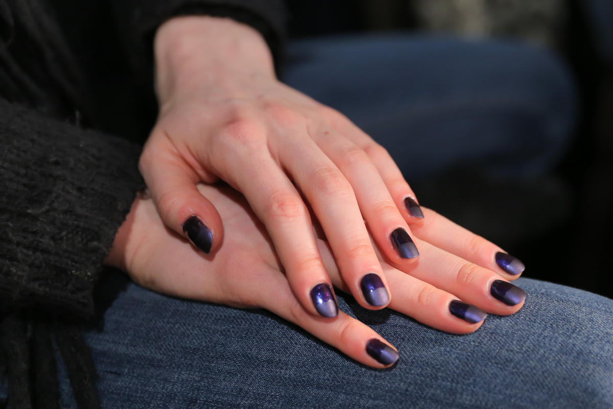 The nail polish colors everyone will be wearing this fall huffpost this half metallic half matte dark purple nail look was all the rage backstage geenschuldenfo Images