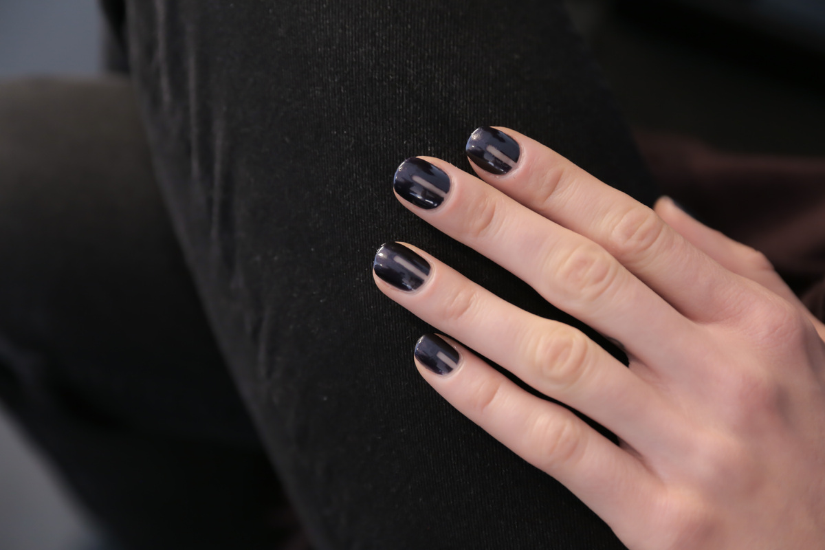 The nail polish colors everyone will be wearing this fall huffpost team opi created a matte navy nail look with a strip of negative space that was geenschuldenfo Images