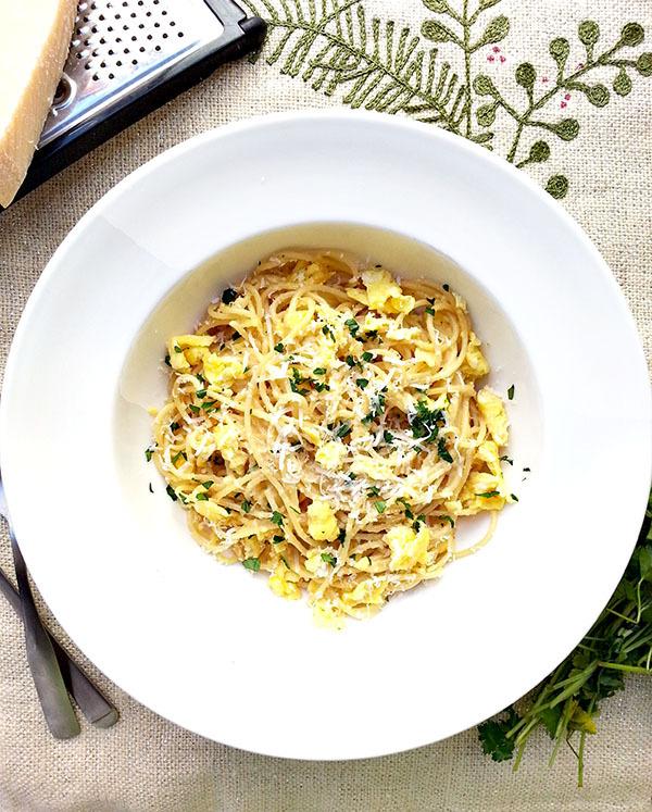 "<strong>Get the <a href=""http://cherryonmysundae.com/2014/04/breakfast-pasta.html"" target=""_blank"">Breakfast Pasta recipe</a>"