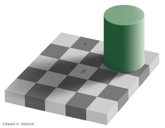 The squares marked A and B on this board are the exact same color.