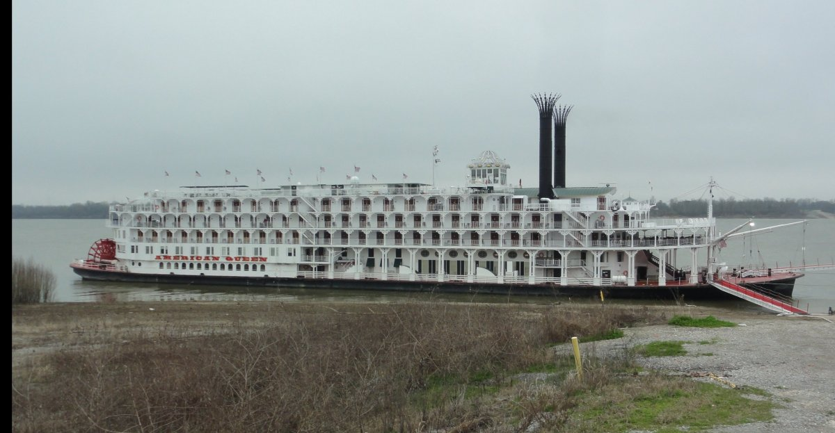 Our beautiful paddlewheel American Queen Steamboat on the Mississipp River.