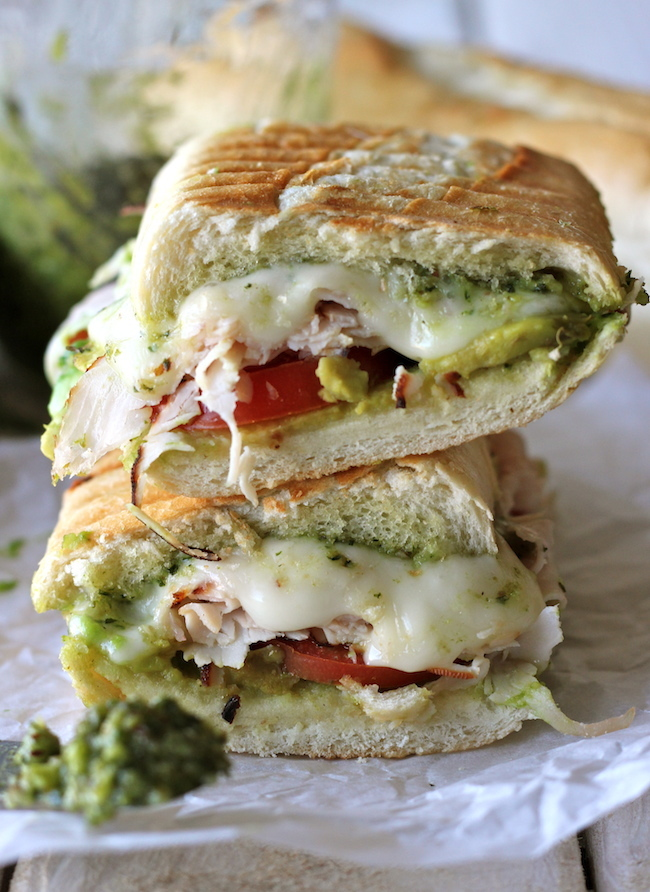 """<strong>Get the <a href=""""http://damndelicious.net/2012/11/21/leftover-thanksgiving-turkey-pesto-panini/"""" target=""""_blank"""">Turk"""