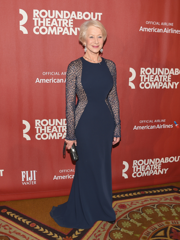 Dame Helen Mirren looks dame good in this long-sleeve, shimmery navy dress. Not only does the rich color pop against her fair